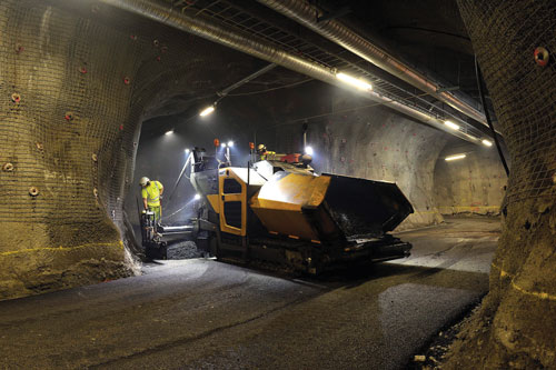 The Kiruna mine's paving crew laid 20,000 mt of asphalt on underground roads last year, using this Volvo CE tracked paving machine. (Photos courtesy of Volvo CE)