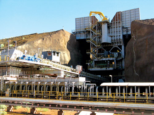 One of four TKSI semi-mobile primary crushing plants at CP Mining's Cape Preston iron-ore mine in Western Australia, equipped with KB 63-89 gyratories.