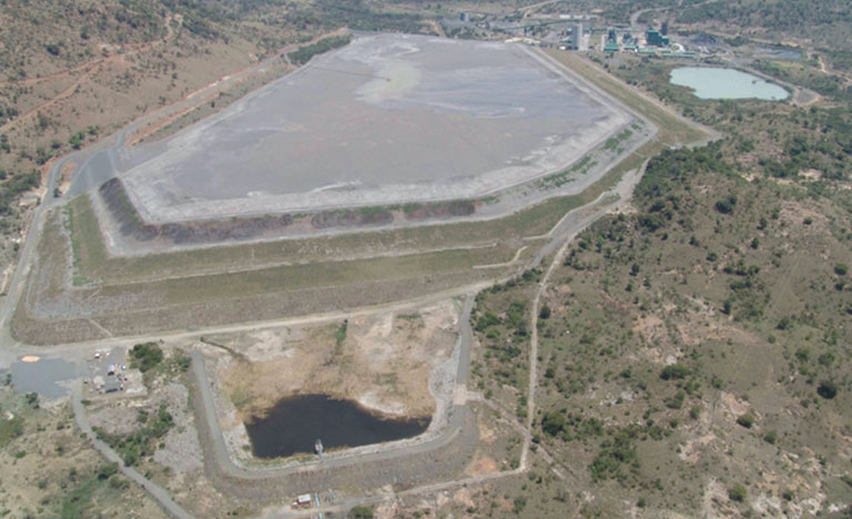 An aerial photograph taken of a tailings storage facility, during an aerial inspection that is one element in an active monitoring program for the facility.