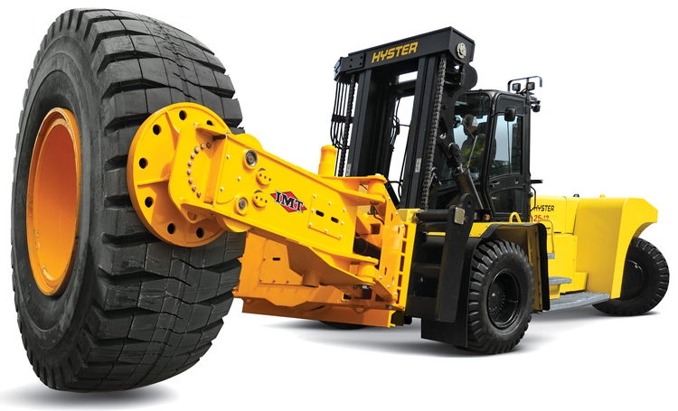 Iowa Mold Tooling's TireHand tire manipulators are featured on a new series of heavy-duty Hyster tire handling trucks.