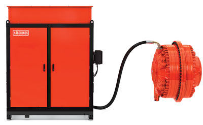 The hydraulic direct drive is powered by a fixedspeed AC induction motor and a variable-displacement pump.