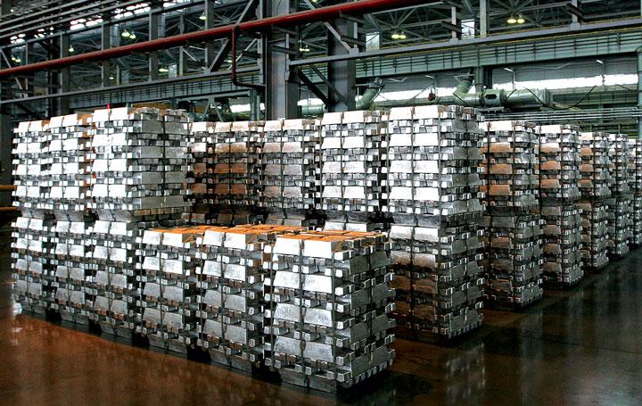 Aluminum ingots await shipment.