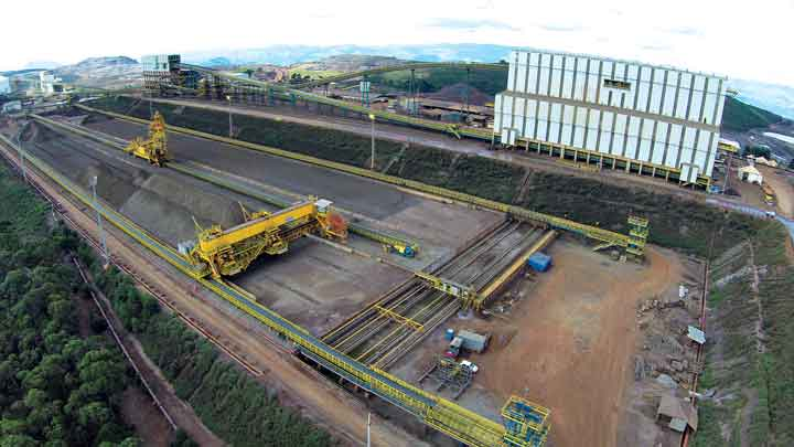 The homogenization yard at Vale's Vargem Grande mine blends RoM iron ore to provide a consistant quality feed to the mill.