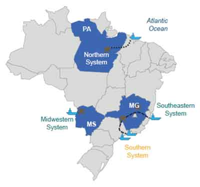 Vale produces iron ore from four regions in Brazil.