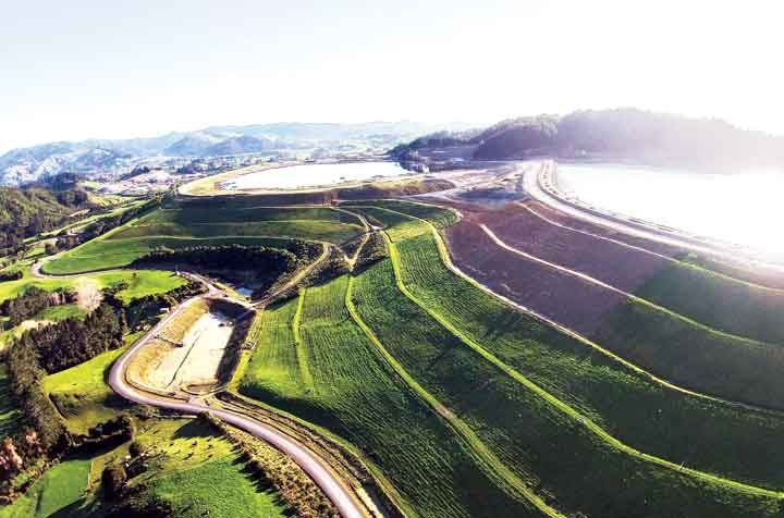 Lift-by-lift TSF reclamation at the Waihi gold mine in New Zealand. (Photo: Kit Wilson, Oceanagold Waihi)
