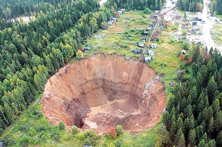 A sinkhole at Solikamsk No. 2 swallows summer cottages.
