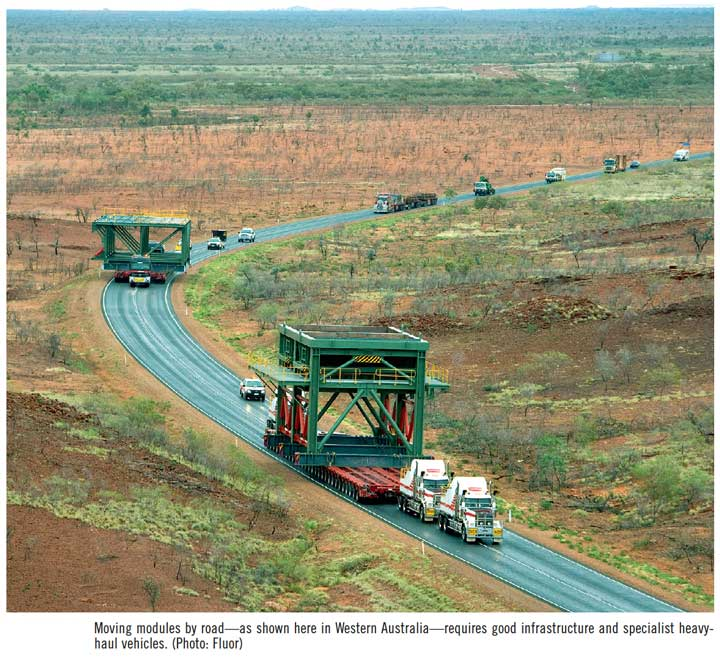 Moving modules by road—as shown here in Western Australia—requires good infrastructure and specialist heavyhaul vehicles. (Photo: Fluor)