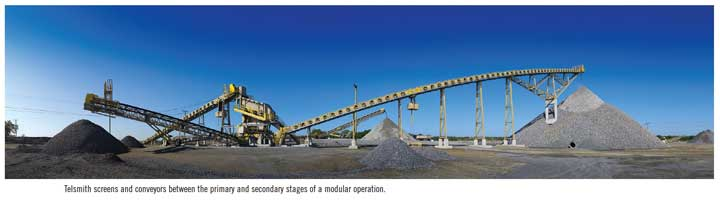 Telsmith screens and conveyors between the primary and secondary stages of a modular operation.