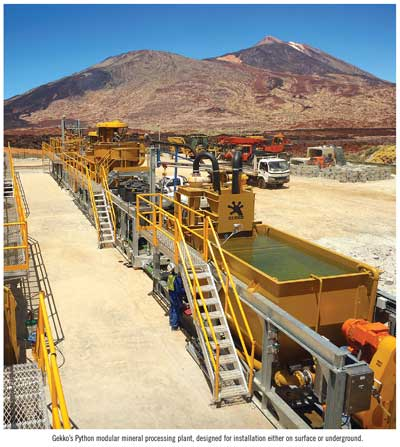 Gekko's Python modular mineral processing plant, designed for installation either on surface or underground.