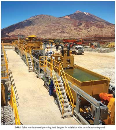 Gekko's Python modular mineral processing plant, designed for installation either on surface or underground.