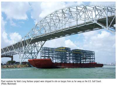 Plant modules for Vale's Long Harbour project were shipped to site on barges from as far away as the U.S. Gulf Coast. (Photo: Mammoet)