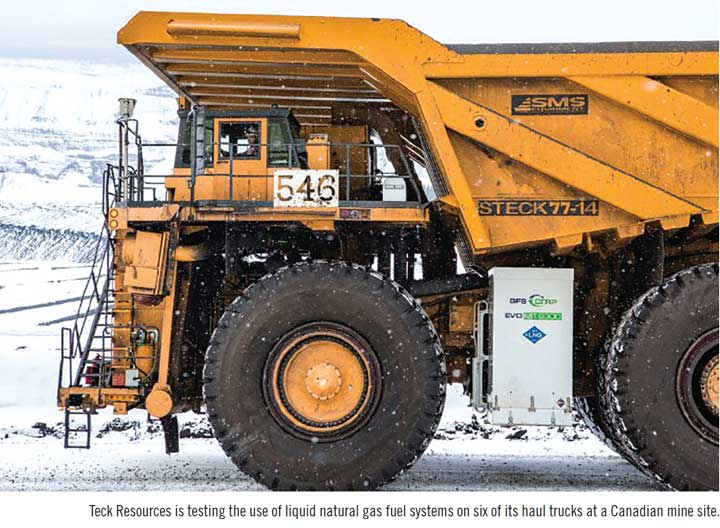 Teck Resources is testing the use of liquid natural gas fuel systems on six of its haul trucks at a Canadian mine site.