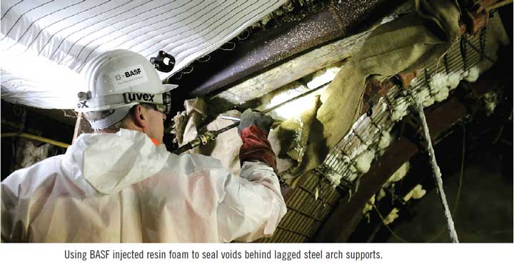 Using BASF injected resin foam to seal voids behind lagged steel arch supports.