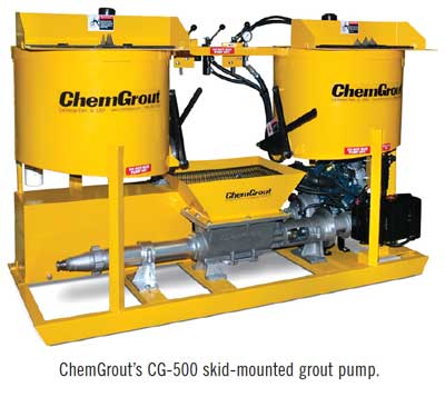 ChemGrout's CG-500 skid-mounted grout pump.