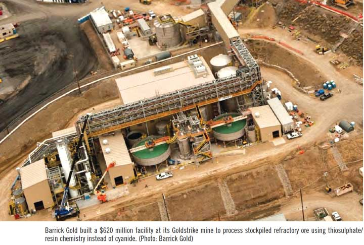 Barrick Gold built a $620 million facility at its Goldstrike mine to process stockpiled refractory ore using thiosulphate/ resin chemistry instead of cyanide. (Photo: Barrick Gold)