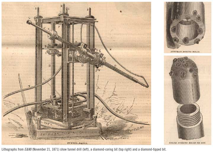 Lithographs from E&MJ (November 21, 1871) show tunnel drill (left), a diamond-coring bit (top right) and a diamond-tipped bit.