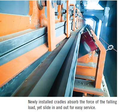 Newly installed cradles absorb the force of the falling load, yet slide in and out for easy service.