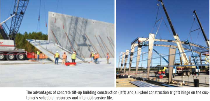 The advantages of concrete tilt-up building construction (left) and all-steel construction (right) hinge on the customer's schedule, resources and intended service life.