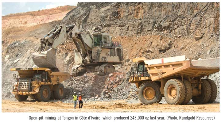 Open-pit mining at Tongon in Côte d'Ivoire, which produced 243,000 oz last year. (Photo: Randgold Resources)