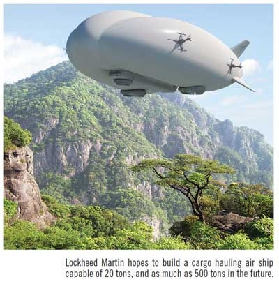Lockheed Martin hopes to build a cargo hauling air ship capable of 20 tons, and as much as 500 tons in the future.