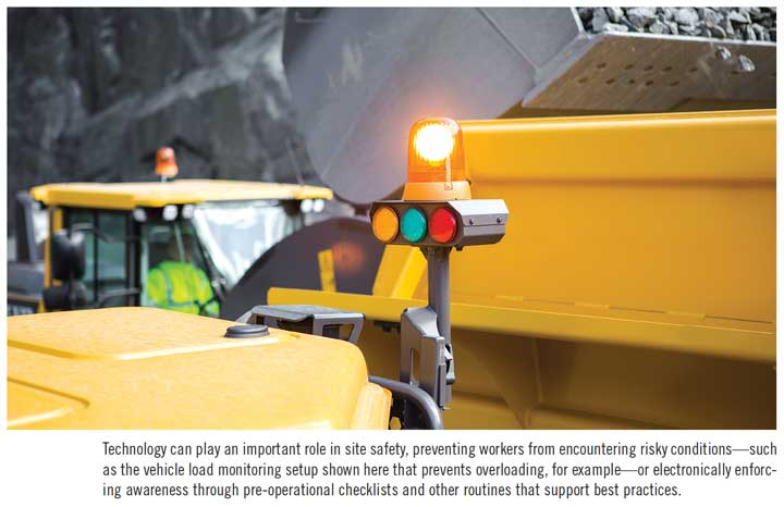 Technology can play an important role in site safety, preventing workers from encountering risky conditions—such as the vehicle load monitoring setup shown here that prevents overloading, for example—or electronically enforcing awareness through pre-operational checklists and other routines that support best practices.