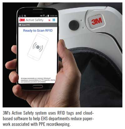 3M's Active Safety system uses RFID tags and cloudbased software to help EHS departments reduce paperwork associated with PPE recordkeeping.