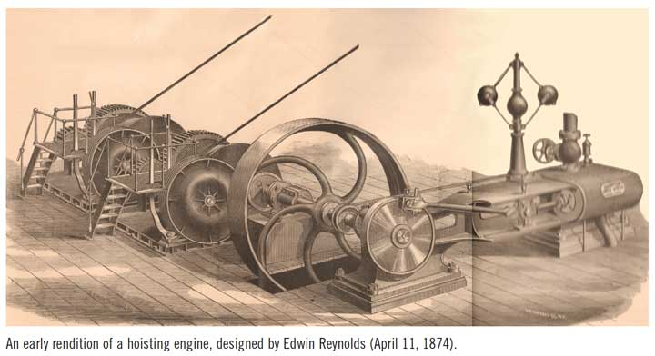 An early rendition of a hoisting engine, designed by Edwin Reynolds (April 11, 1874).