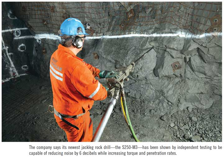 By Jared Kessen  While many underground mines are looking to avoid handheld rock drills for the safety of the miners, there are still many mines in North America, for example, where jackleg drilling is a must. For these narrow-vein mines, located primarily in eastern Canada and throughout Mexico, cabbed jumbos, bolters and long-hole rigs are not feasible due to cost and size restraints, and these operations depend on handheld rock drills—a technology that has changed relatively little in more than 70 years.  In 2010, the Boart Longyear engineering team began to take a hard look at the design of these drills, including their own Secan S-250. The goal was to reduce the noise and vibration the drill puts out. The outcome was a new, top-of-the-line handheld rock drill—the S250-M3—which instantly made jackleg drilling a much safer operation.  Introduced in early 2013 to a receptive market, the S250-M3 represented a major step forward in rock drilling. Reflecting Boart Longyear's commitment to making a truly better and safer drill, it significantly improved upon the Secan S-250 by introducing advanced noise suppression. The new technology directs more energy to the face of the rock and less into the body of the driller. Independent tests showed the S250-M3 reduced the noise level by 6 decibels—resulting in half the noise—while increasing torque and penetration rates. In fact, one driller commented that it was the first time he could feel his feet and hands after a full shift using a rock drill.  An independent, third-party comparison test at an underground site in the western U.S. pitted the new S250-M3 against three other leading jacklegs head-to-head. After that test—conducted under actual mine conditions—Boart Longyear's S250-M3 emerged as the evaluation team's product of choice for rock drilling at the site.