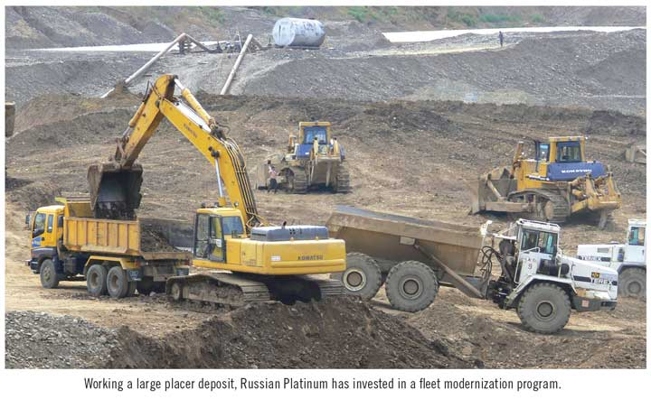 Working a large placer deposit, Russian Platinum has invested in a fleet modernization program.
