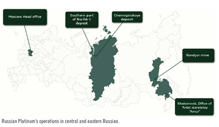 Russian Platinum's operations in central and eastern Russian.