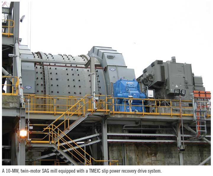 A 10-MW, twin-motor SAG mill equipped with a TMEIC slip power recovery drive system.