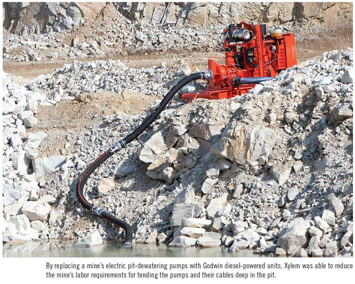 By replacing a mine's electric pit-dewatering pumps with Godwin diesel-powered units, Xylem was able to reduce the mine's labor requirements for tending the pumps and their cables deep in the pit.