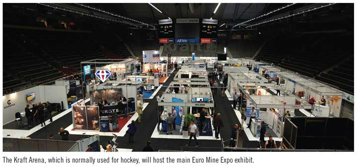 The Kraft Arena, which is normally used for hockey, will host the main Euro Mine Expo exhibit.