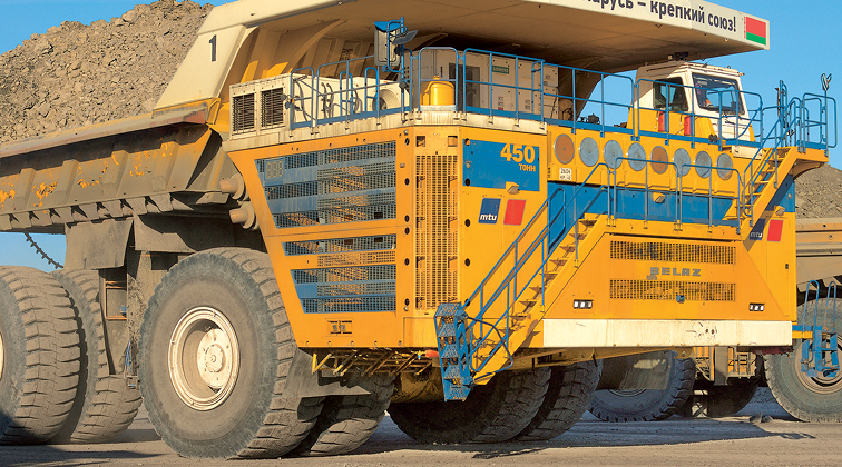The BelAZ 75710—billed as the world's largest haul truck—employs two MTU Series 4000 16-cylinder diesel engines, generating a total of 3,430 kW (4,600 hp). To save fuel, both engines operate at full power only when the 450-mt-capacity truck is loaded; when empty, it runs on one engine while the other engine idles.