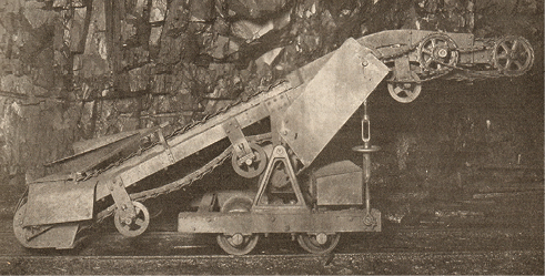 The muckers shovel into the lower end of a portable loading machine, which elevates the rock and dumps it into 3-ton saddle-back cars at Cleveland-Cliffs Iron Co.'s Morris-Lloyd mine (September 15, 1915).