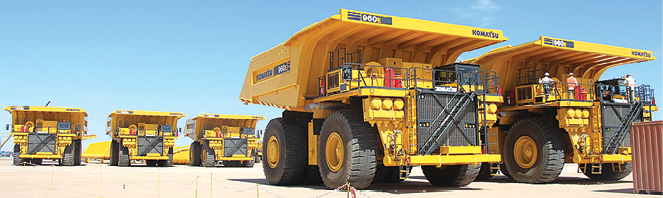 The Husab uranium mine in Namibia will run 23 Komatsu 960E-2KT haul trucks equipped with improved trolley-assist power components.