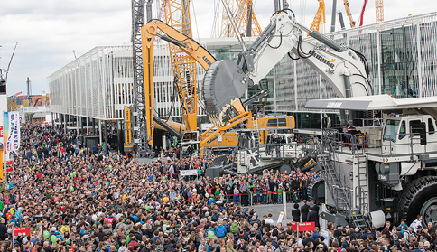 The mining equipment at bauma is a focal point for the crowd.