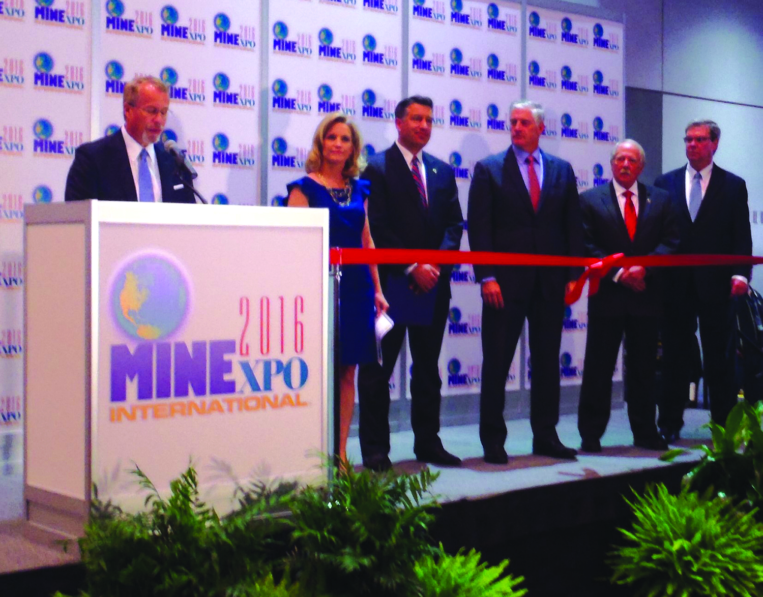 From the left: Kevin Crutchfield, Contura Energy; Denise Johnson, Caterpillar; Nevada Gov. Brian Sandoval; Phillips S. Baker, Hecla Mining Co.; Douglas Hardman, J.H. Fletcher & Co.; and Hal Quinn, NMA, opened the show with a ribbon-cutting ceremony. An estimated 44,000 people attended the three-day event.