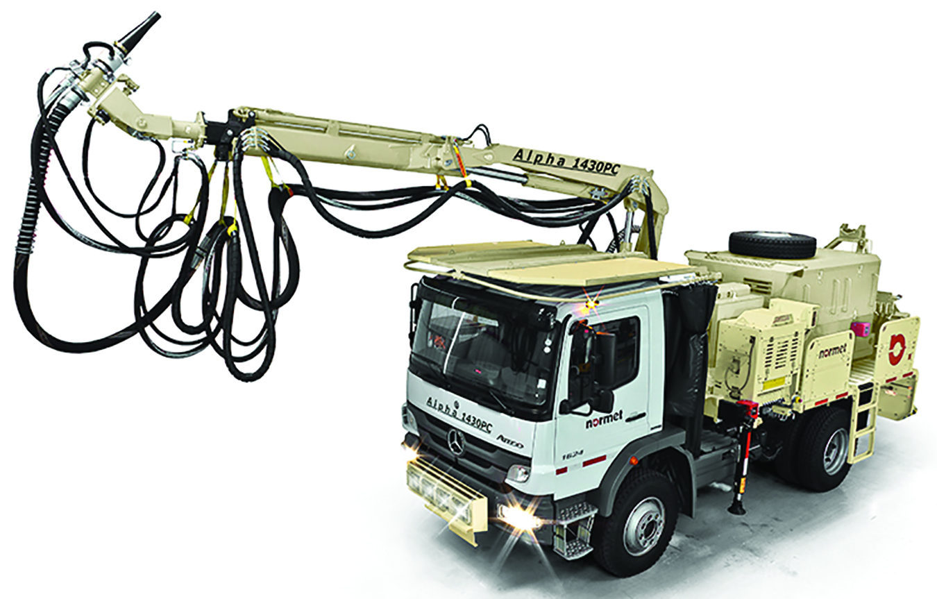 The Alpha 1430 shotcrete spraying kit fits a wide variety of truck chassis, enabling miners to configure a system for medium to large cross-section tunnels.