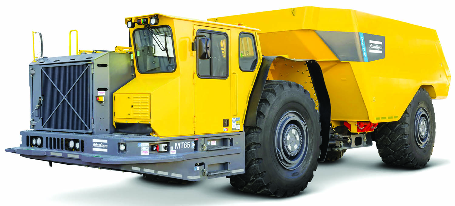 Atlas Copco's Minetruck MT65 is an articulated underground truck with a 65-mt load capacity.