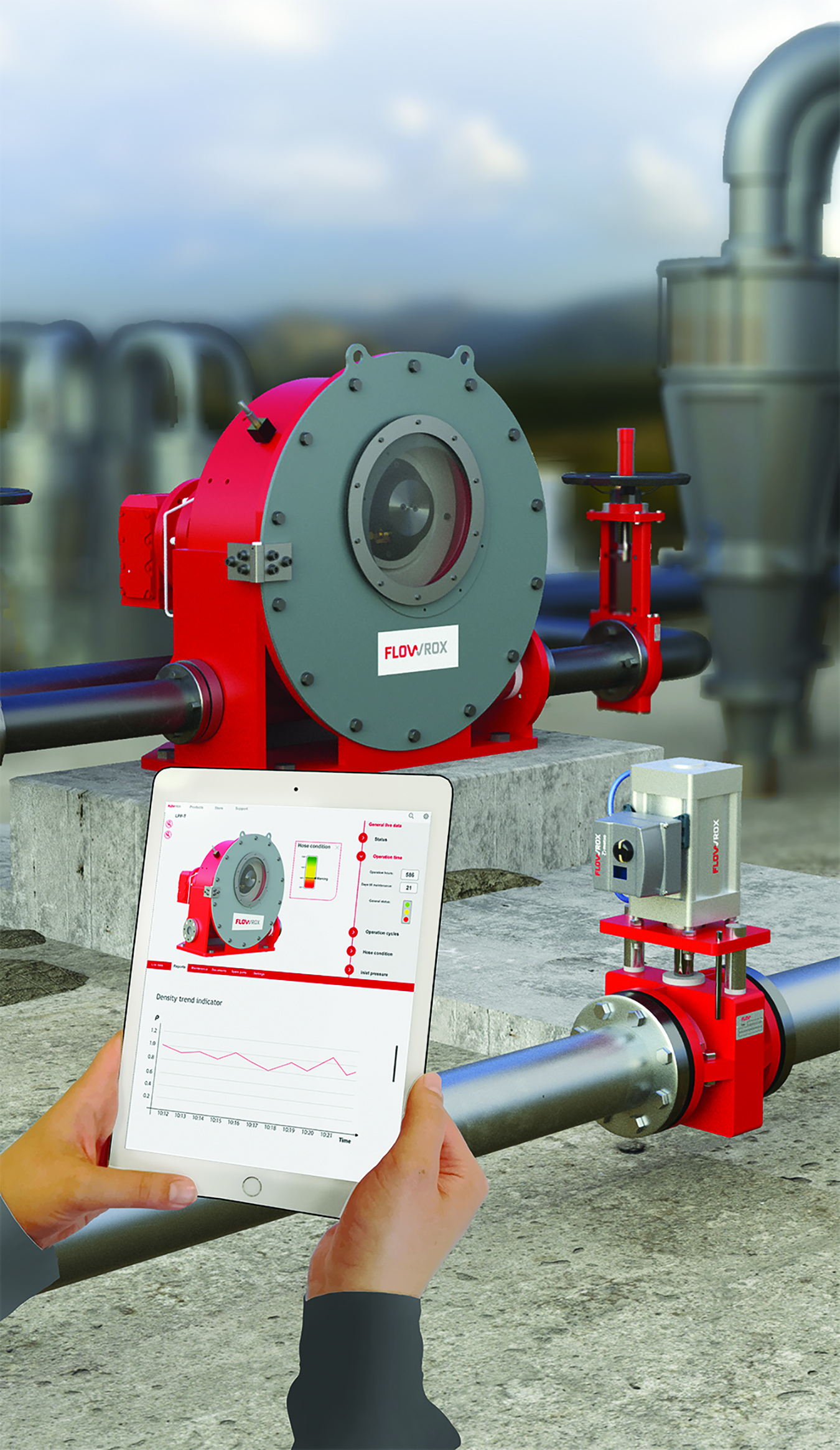 Flowrox's Malibu platform is a 3-D interface to equipment such as the company's SMART pump sets.