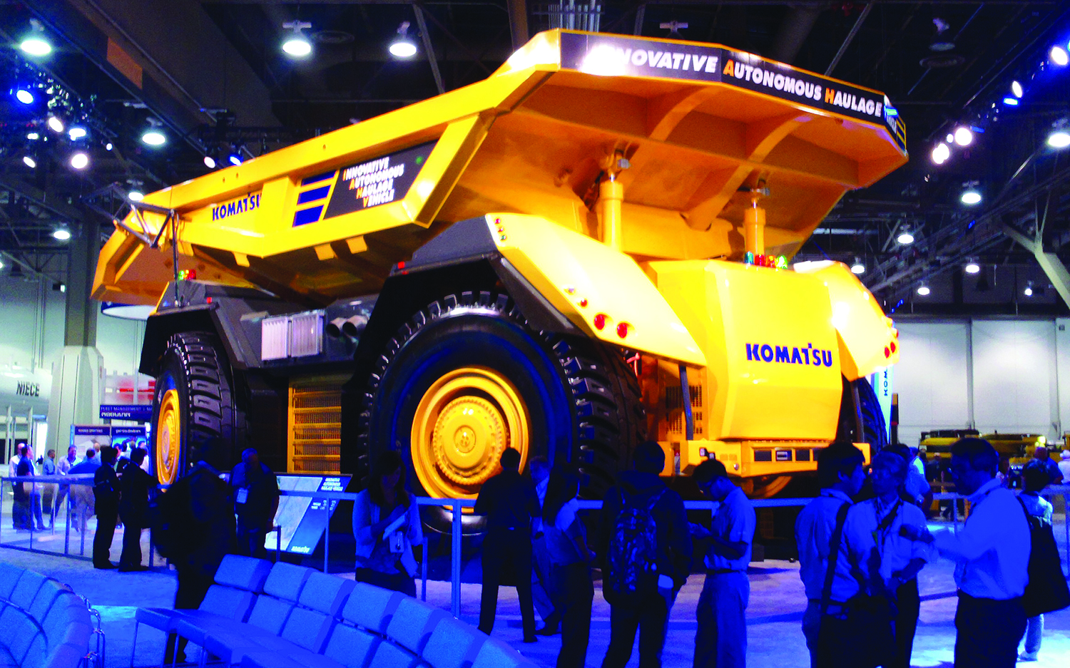 Komatsu's IAHV hauler is designed to travel equally efficient in forward or reverse direction.