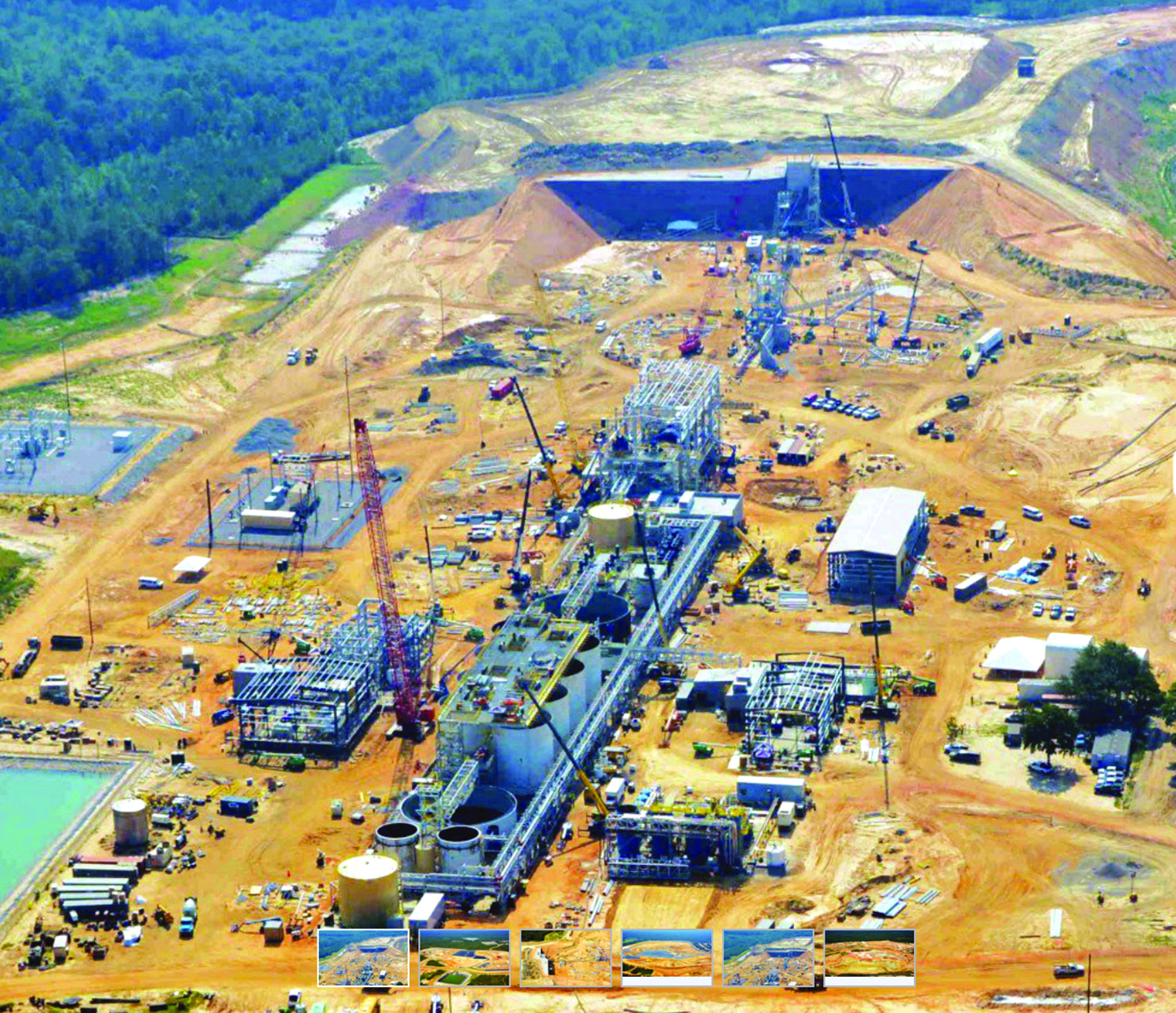 The $380 million Haile mine, shown here during its plant construction phase, is expected to begin production from its surface operations early in 2017. (Photo: OceanaGold)