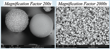 IXOS beads, shown here at different levels of magnification, are imprinted at the molecular level to attract gold and ignore other elements, according to 6th Wave Innovations Corp.