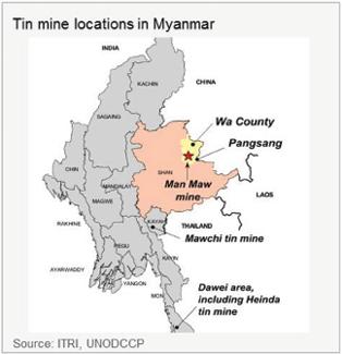 ITRI PR Myanmar Tin Production map