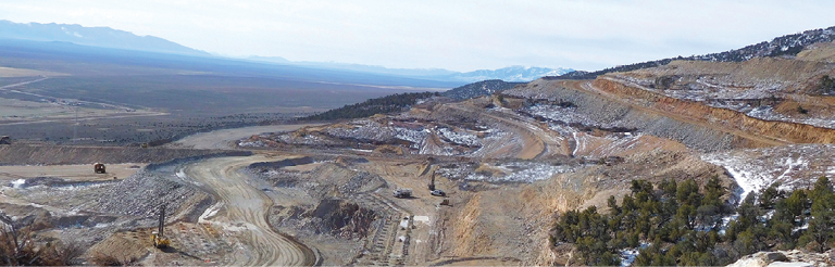With the Long Canyon project in Nevada (above), Newmont is taking a phased approach with heap leach vs. a mill and refurbished equipment.