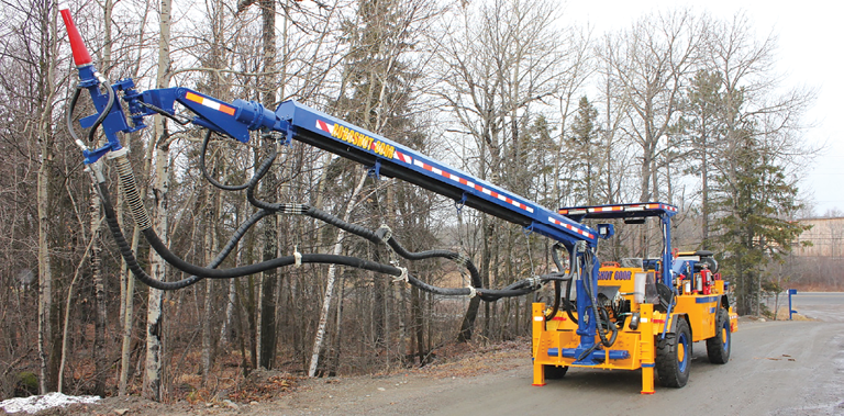 The Roboshot 600 spraying unit from RDH Mining Equipment has a highly maneuverable boom and can place up to 30 m3/h of shotcrete.